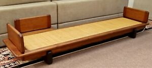 Mid Century Modern Rattan & Wood Long & Low Bench Seat by Cranbrook Artist 1960s