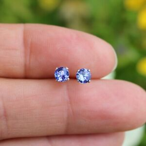 Natural Tanzanite 925 Sterling Silver or 14k Gold Filled 4mm Small Stud Earrings