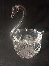 Vintage Crystal Swan Trinket Dish Beautiful Floral Pattern On Sides Heavy EVC