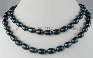 Noble 9-10mm Beautiful hand knotted Black Natural Rice Pearl Long Necklace 34""