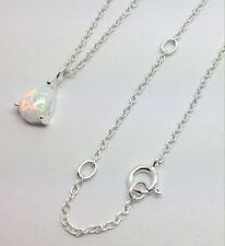 Opalique Pear pendant solid Sterling Silver, chain, new, Faux Opal, Box.