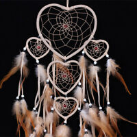 Brown Heart Dream Catcher Hanging with Feather Wall Home Decoration Ornament USA