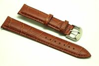20mm Brown HQ Croco Embossed Leather Men's Watch Strap Fit Any Watch 20mm