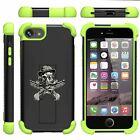 For Apple iPhone SE 2 / XE Dual Layer Gel Bumper Kickstand Defender Green Case