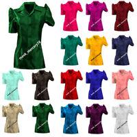 Satin Half Sleeve Shirt Puff sleeve shirt / Blouse Top For Girls Casual wear S80