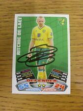 """2011/2012 AUTOGRAFO: Norwich City-DE LAT, Ritchie [firmato a mano """"TOPPS MATCH a"""