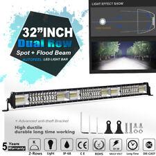 "32""IN LED Dual Row Light Bar Spot Flood Work 4WD SUV Driving Lamp VS TRI ROW 30"""