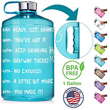 HydroMATE 1 Gallon Motivational Water Bottle with Time Marker Large BPA Free Jug