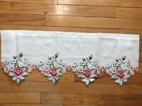 Springtime Floral Embroidered Cutwork Rose Valance Blooms Garden Window Valance