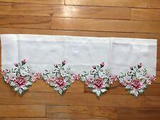 Springtime Floral Embroidered Cutwork Rose Valance Blooms Garden Window Valance