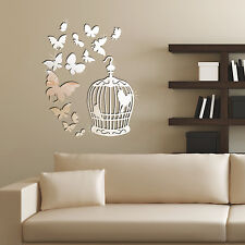 Walplus Wsm2057 14 Mirror Butterflies Plus Wsm2017 Birdcage Mirror Wall Art