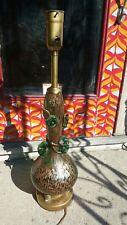 Barovier & Tosco heavy Rose flower Murano Green 24k Gold Art Glass table lamp