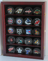 Hockey Puck Display Case Wall Cabinet Holder Shadow Box , UV Protection