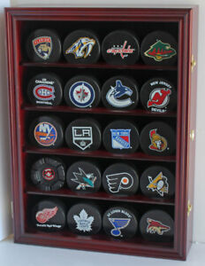 Hockey Puck Display Case Wall Cabinet Holder Shadow Box , UV Protection