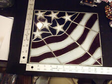 New listing usa stained glass,flag,red,white,blue ,vintage,old,rare,antique, america,patriotic
