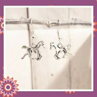 Silver Horse Earrings Pony Ponies Equestrian Animals Present Gift Drop Hook