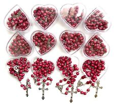 12 PCS red Rosary wood beads rosary CATHOLIC Rosary Crucifix Necklace lot of 12
