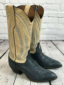 Larry Mahan Blue Leather Western Boots Women's Size 7.5 M Made in Texas USA