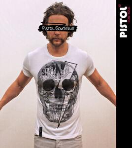 Pistol Boutique Men's Fitted Roll Sleeve White Crew GRAFFITI SKULL T-shirt LARGE