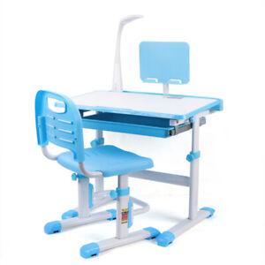 Schülerschreibtisch Einstellbar Stuhl mit Tischlampe LED 220V SCHNELLER VERSAND