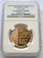 Israel 1999 Millennium 10 New Sheqalim NGC PR-68 Gold Coin,Proof