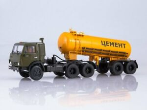 Scale model truck 1:43 KAMAZ-54112 with semitrailer-cement truck TC-11