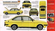 Ford Escort RS2000/rs-2000 Especificaciones Hoja / FOLLETO: 1979