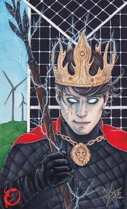 King of Wands Tarot Card ORIGINAL PAINTING Clean Energy Solar Power Man Portrait