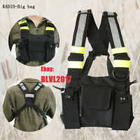 Black Radio Chest Harness Chest Front Pack Pouch Holster Vest Rig For radio