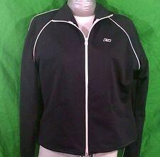 Women Black White Reebok Windbreaker Jacket Coat Lightweight Drawstrings XL
