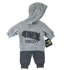 Nirvana Baby Infant Hooded Pull Over and Pants Set Sz Newborn Grey Black Stripe