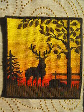 Vintage wool hand-embroidered wall hanging, tapestry Deer