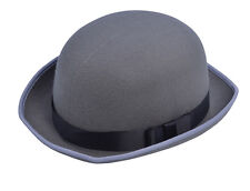MENS LADIES ADULT FANCY DRESS COSTUME GREY BOWLER HAT NEW VICTORIAN EDWARDIAN