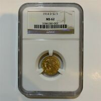 1914-D $2.50 Indian Head Quarter Eagle Gold Coin NGC MS62