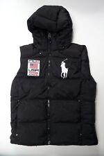 Polo Ralph Lauren Men Down Puffer Vest Big Pony Alpine Ski USA Flag Hooded