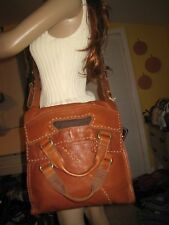 🍀 Lucky Brand  Abbey Road  Messenger Bag Whiskey Brown Leather MINT   $229.00