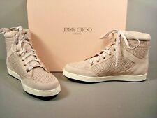 JIMMY CHOO Tokyo Angora Silver Studded Suede Lace Up High Top Sneakers 37/7 New