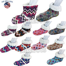 Women Fleece Lined Fuzzy House Slip On Non-Skid Warm Slippers Booties Shoes (17)
