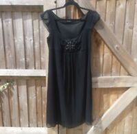 M&S Autograph Black Embellished Silk Chiffon Party Dress Size 12 VGC