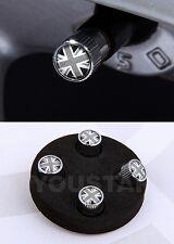 MINI COOPER S ONE x4 R55 R56 R57 BLK & GREY Union Jack CHROME VALVE STEM CAPS