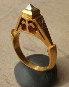 UNIQUE ENGAGENMENT MEDIEVAL GOLD & DIAMOND RING - CIRCA 14th-17th Century AD