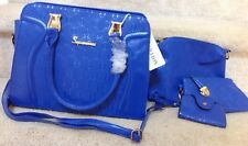 4 Piece Set, Soperwillton - Blue Shoulder Handbag -Clutch-ID Holder- Purse