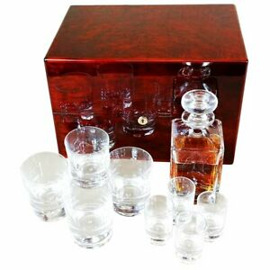 Crystal Whisky Decanter ,Tumbler and Shot Glass Set in a Makah Burlwood Box