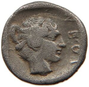ANCIENT GREECE SILVER NEAPOLIS GORGONEION / NYMPH  #t88 173