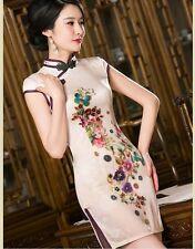 New style chinese women's embroidery silk evening mini Dress Ball Cheongsam s-xl