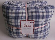 NWT Pottery Barn Kids Plaid Sherpa Backed FQ comforter full queen, blue