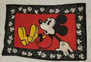 Vintage 90s Disney Mickey Mouse Pillow Case Double Sided USA Made Standard