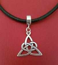 Celtic Knot Necklace leather 55cm solid 925 pendant charm Triquetra Trinity