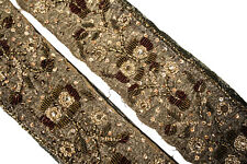 Vintage Sari Lace Border Trim Embroidered Sewing Antique Ribbon Lace 1 Yd ST2571