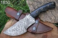HAND FORGED DAMASCUS STEEL Hunting Tracker Knife W/ Bull Horn Handle +sheath